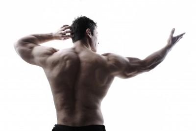 Bodybuilder Showing Back Muscles